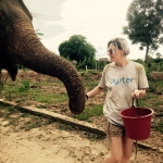 Volunteer walks with an elephant at the sanctuary in Thailand