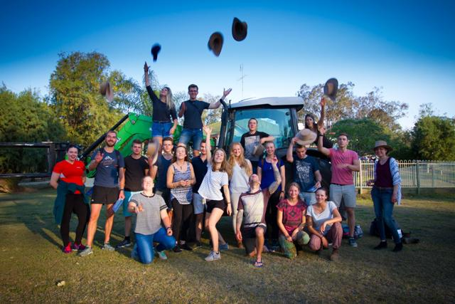 Group celebrating completion of outback training programme