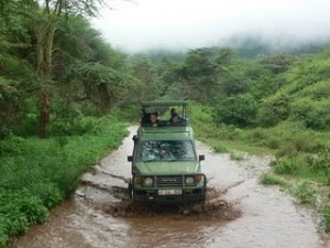 4x4 driving through the flood waters in Tanzania
