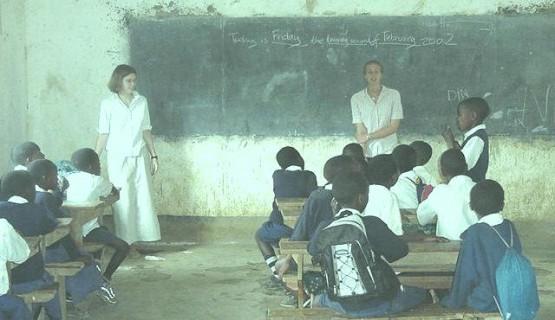 Teaching a class full of keen children in Arusha