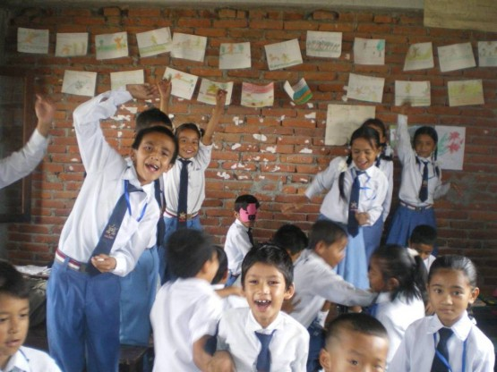 Volunteer teaching English in schools in Nepal