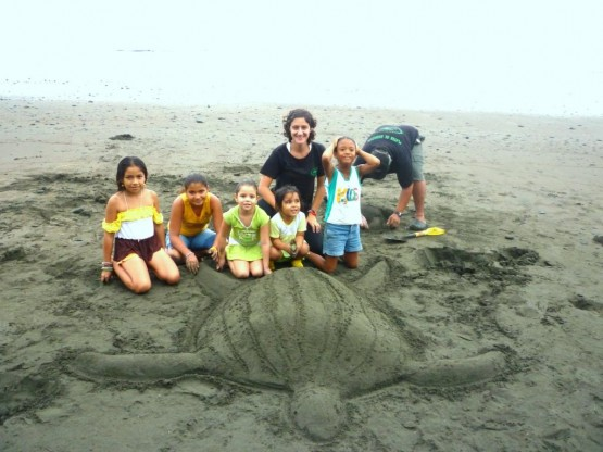Children helping with turtle protection