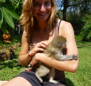 volunteer with monkey
