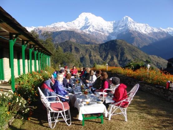 Trekking lunch stop in Nepal