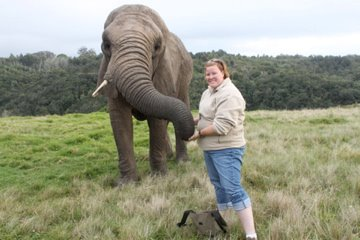 Mandy Holling whilst being a volunteer with elephants