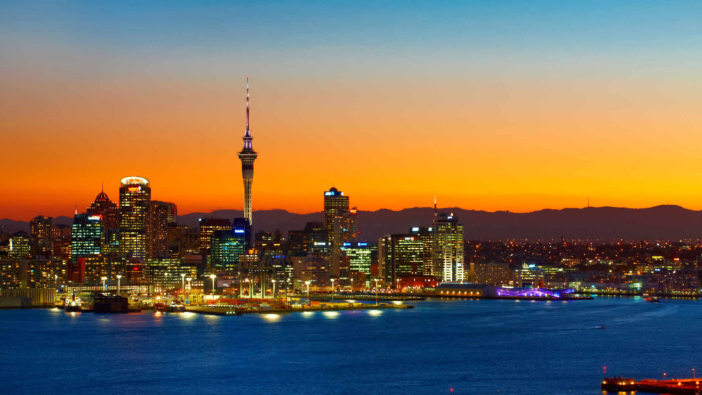 Sunset view of Auckland