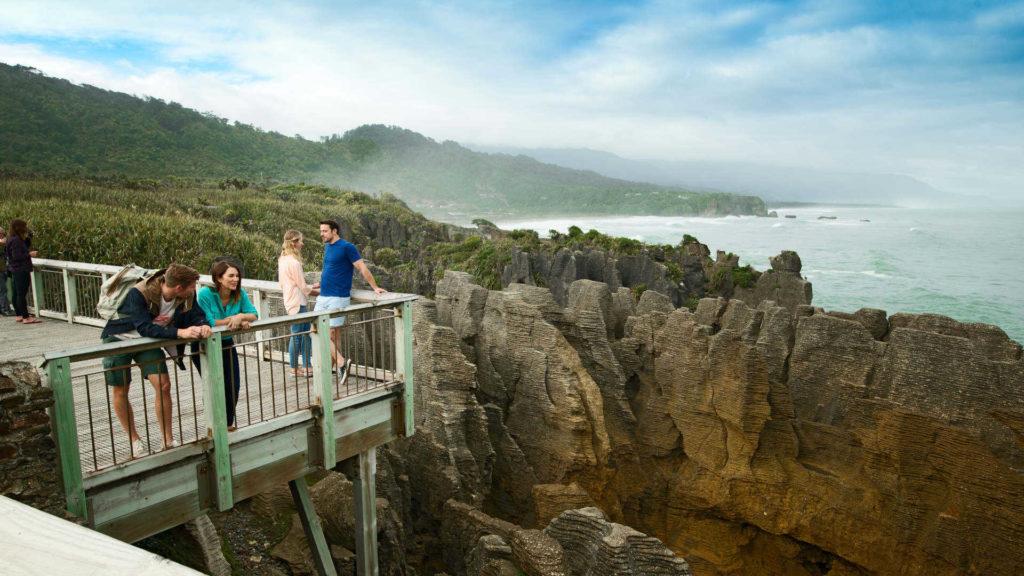 Looking over the bridge at Punakaiki Pancake Rocks
