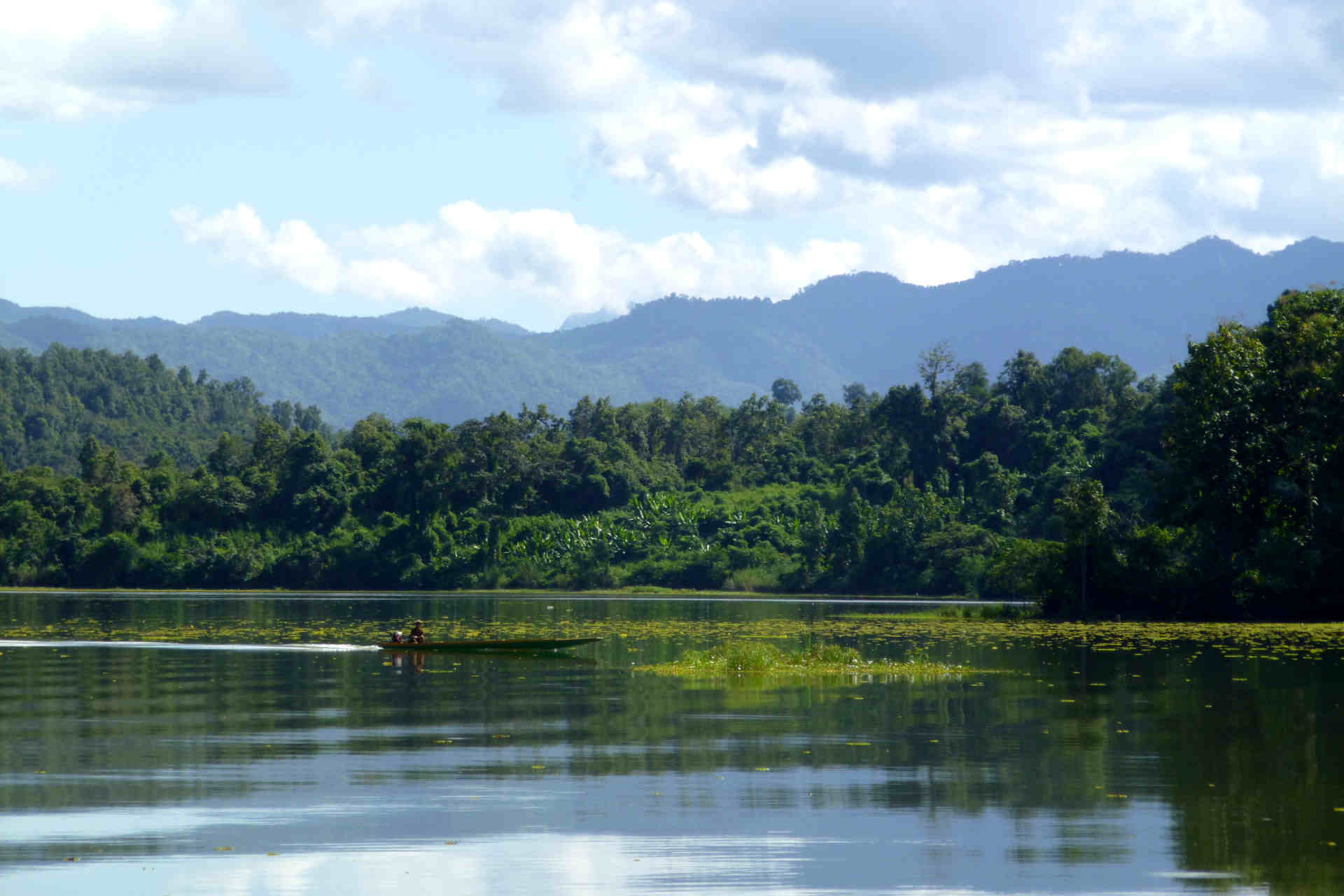 The view over the lake from the elephant rescue centre in Laos