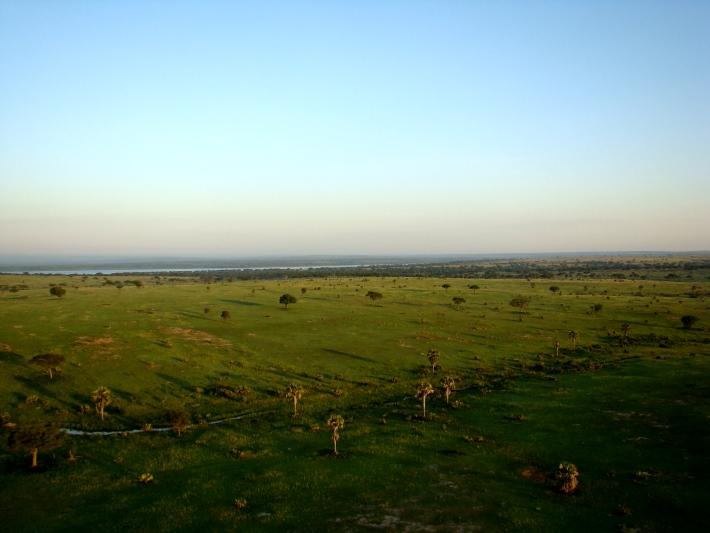 Taking a hot air balloon ride on safari in Uganda