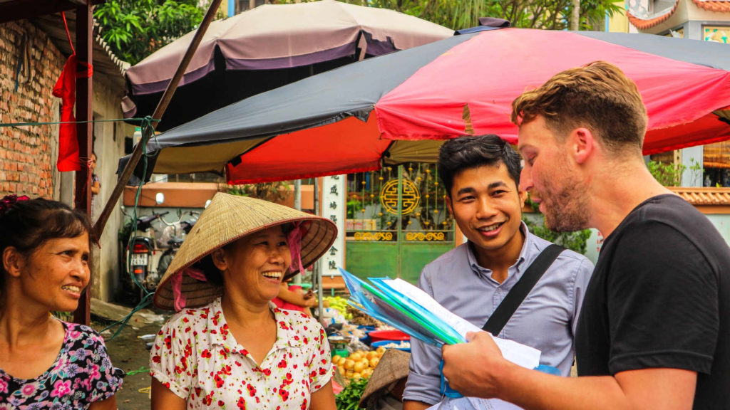 Practicing Vietnamese with the locals