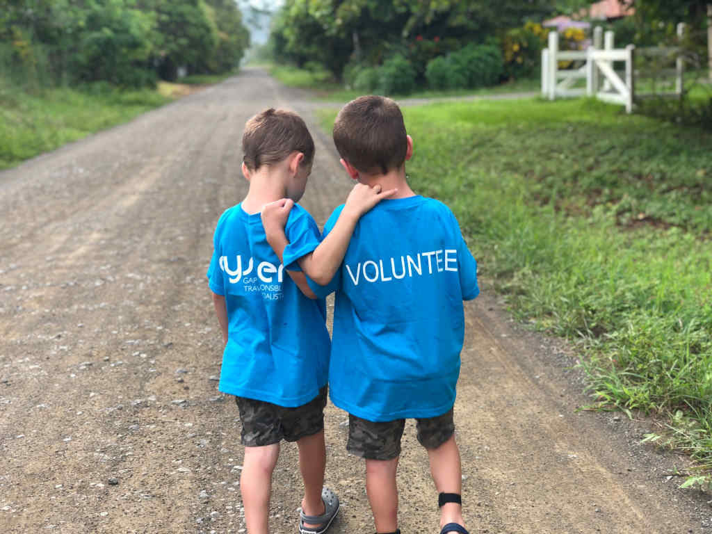 Two boys on their family volunteering holiday in Costa Rica
