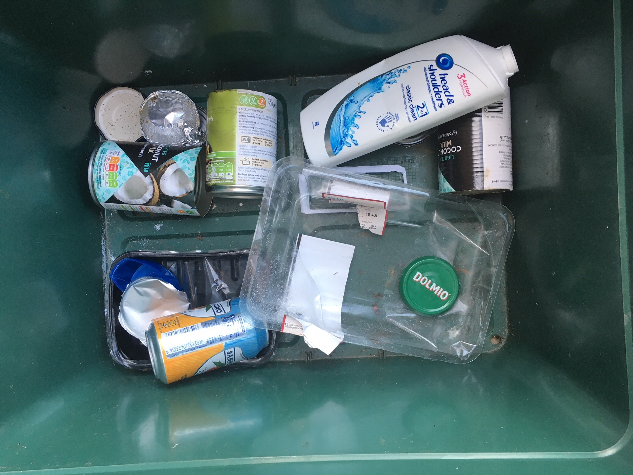 Lack of plastic in a recycling bin
