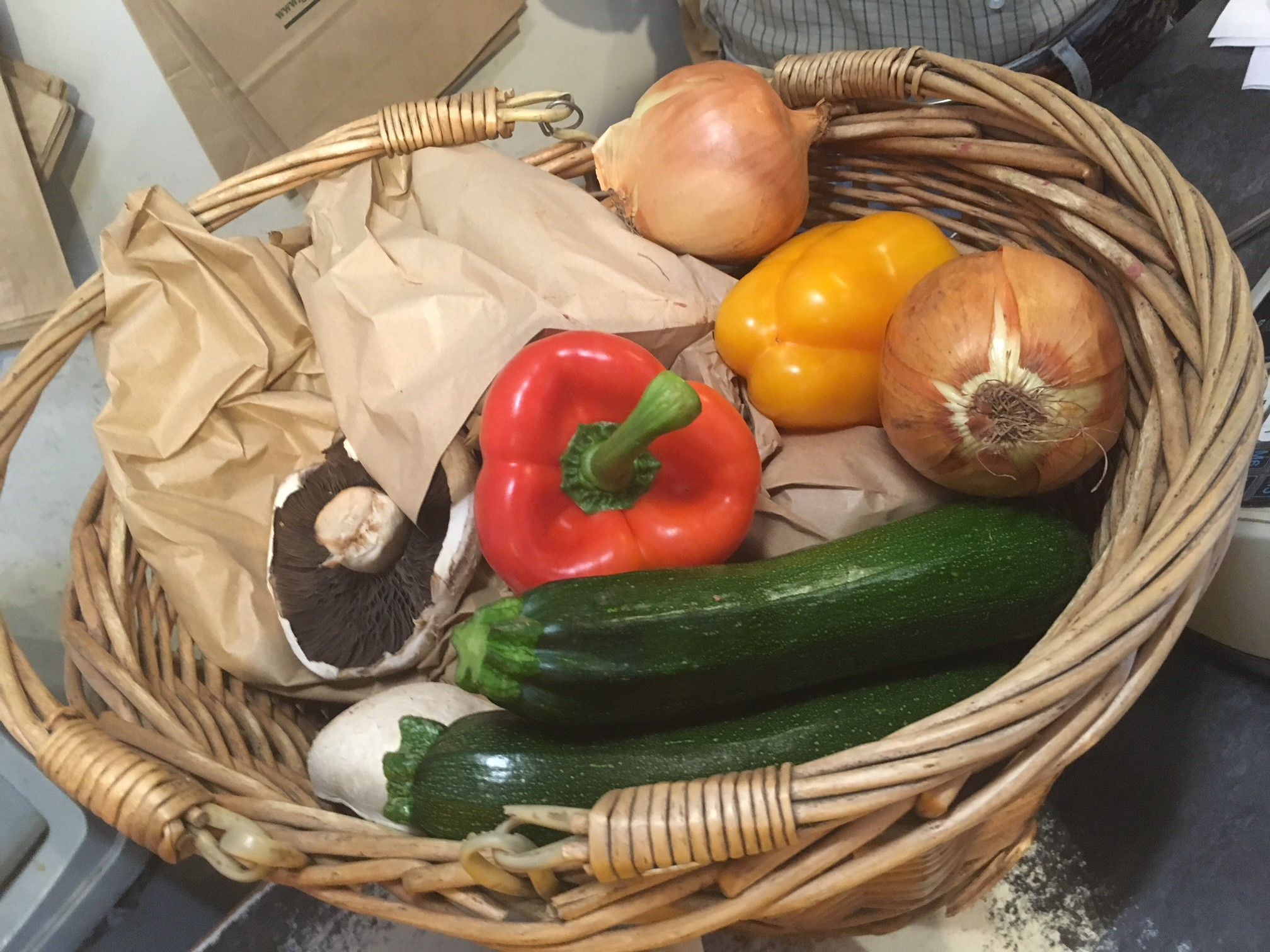 Vegetables in a basket not plastic bags