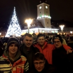 Ski season instructors in Romania gather at the main square in Brasov for the Christmas lights to be switched on