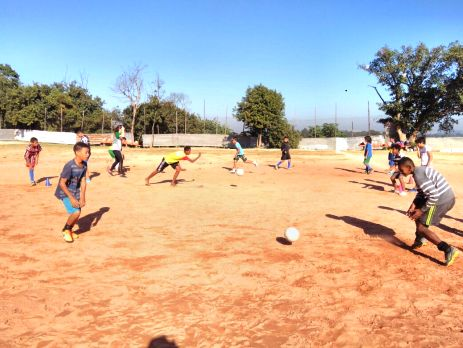 Outside shot of Brazil football volunteering coaching
