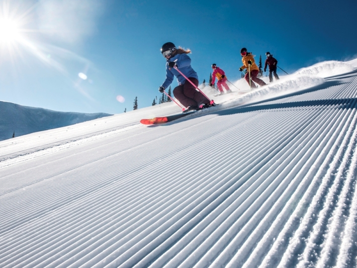 Skiing down the slopes