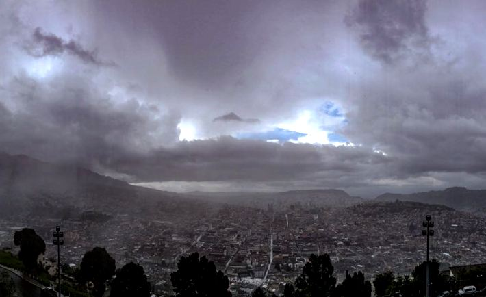 A moody sky over Quito
