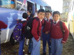 Children in Nepal ready for the school bus