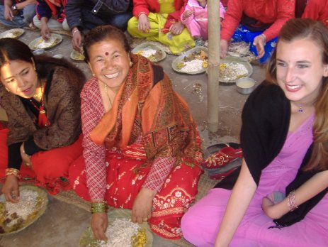 Traditional dress in nepal with a volunteer