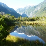 beautfiful scenic view of New Zealand mountains and lake