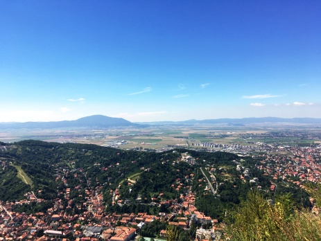 Brasov view in Romania with blue sky