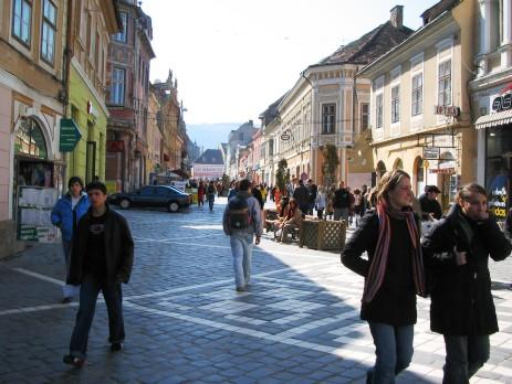 People walking on street in Romania