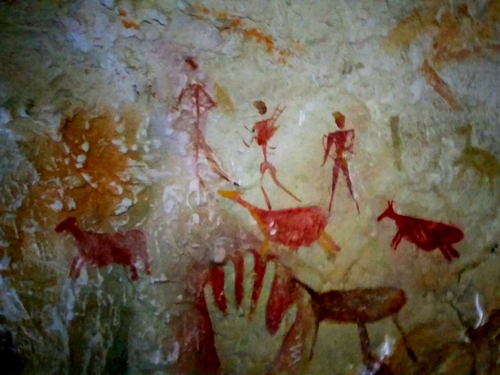 Cave paintings in the underground bunker at the bear sanctuary in Romania