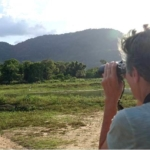 Volunteer spots elephants in the wild in Sri Lanka