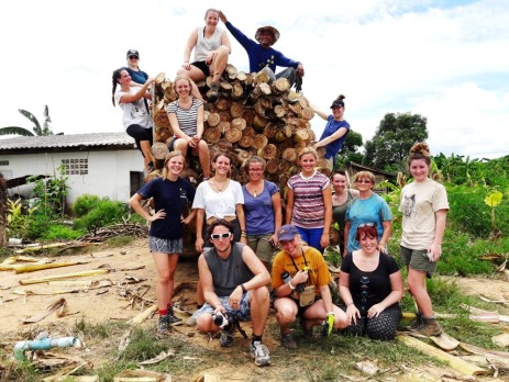 Thailand group photo with logs