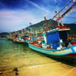 Beautiful Thai boats on the shore on Koh Phangan