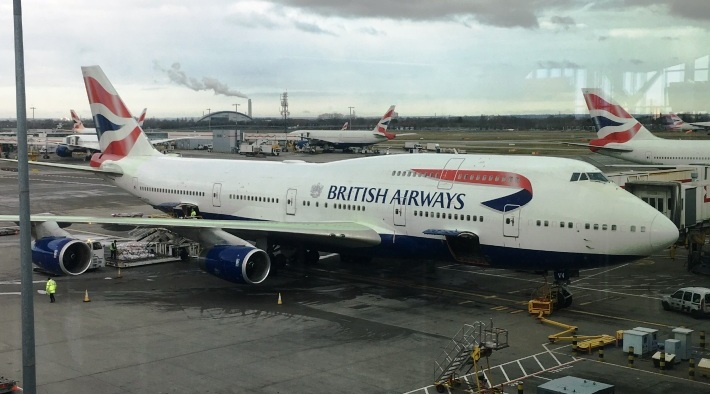 British Airways 747 at LHR preparing for departure to Dulles