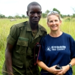 Mandy and a ranger out on the monitoring duty on the volunteer and safari project in Uganda