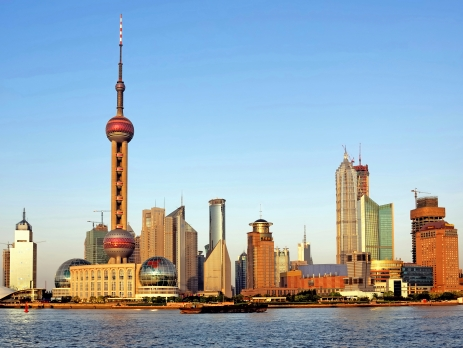 Pudong skyline in Shanghai with blue sky
