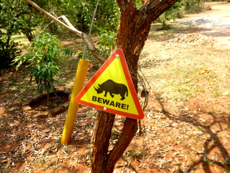 Sign showing you to watch out for wandering rhinos
