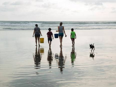 A family takes buckets of baby turtles down the beach to be released back to the sea on their family holiday with a difference in Costa Rica
