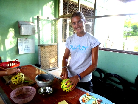 Our Destination Managers get stuck in on all of our volunteering with animals abroad projects. Here, Anne helps to make enrichments.