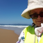 Volunteer helps with conservation on a deserted Australian beach