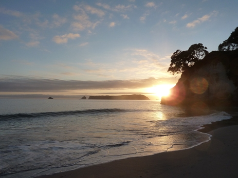 Sunrise at Cathedral Cove, New Zealand