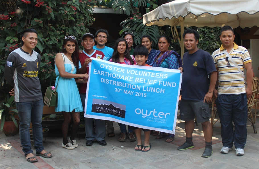Oyster volunteer donation to Nepal earthquake appeal