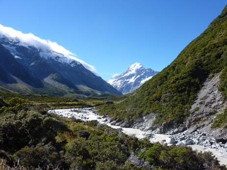 View down the valley to Mount Cook, New Zealand