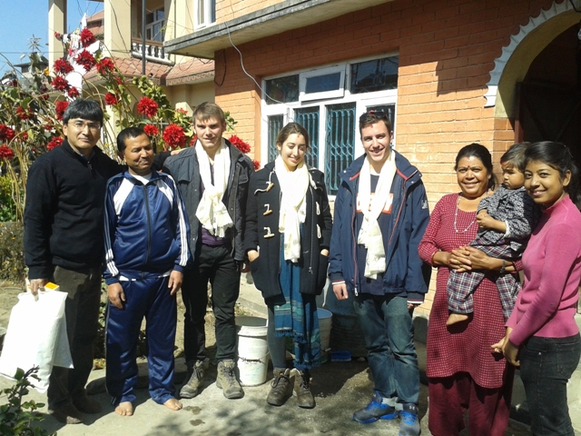 Oyster volunteers in village in Nepal