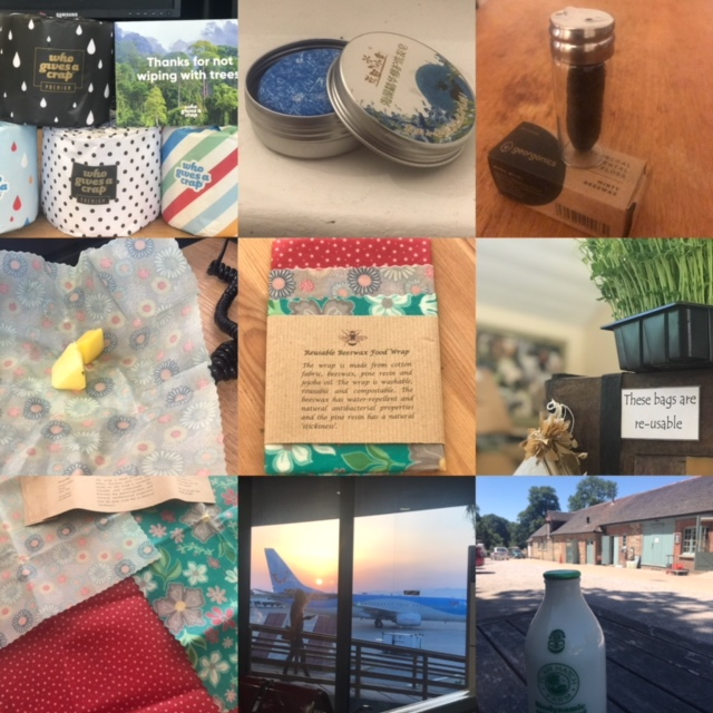 A collage of plastic free photos
