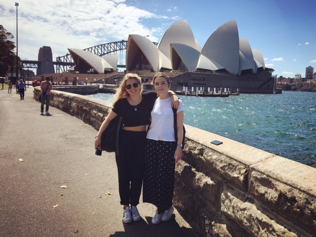 Two girls in front of the Sydney Opera House