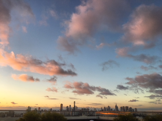 Melbourne Skyline sunset