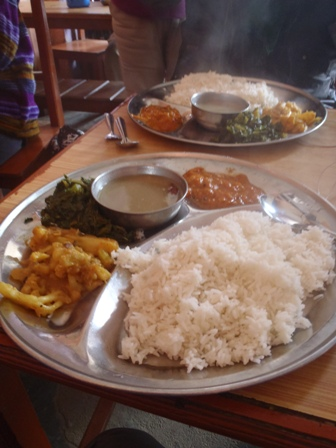 A welcome plate of dhal baat on trek
