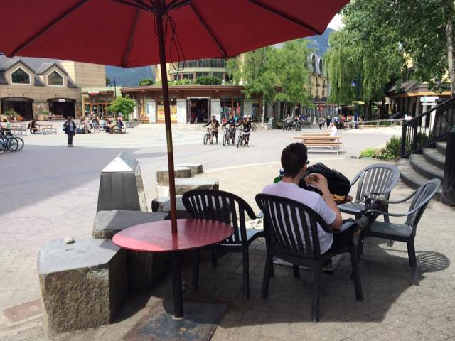 Outside seating area at Zog's Restaurant Whistler