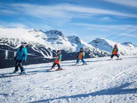 Whistler kids instructor teaching kids to ski
