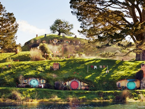 Scene of Hobbiton which is the basis of the film set for Lord of the Rings and The Hobbit in New Zealand. This is located in Matamata , Waikato