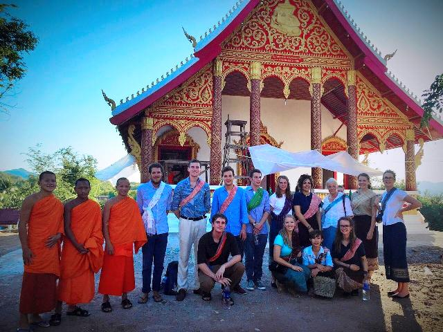 volunteers at a temple in Laos