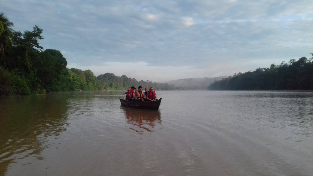 Boating on the river in Borneo